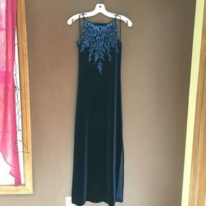 Navy Long Dress with Glitter Bodice